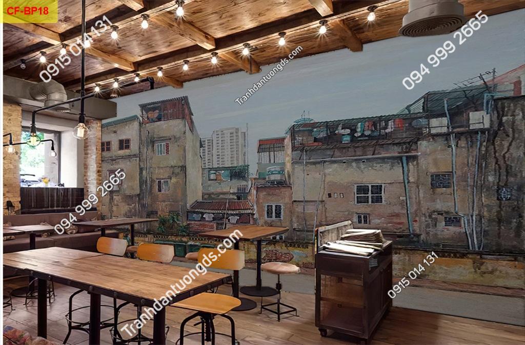 Tranh tường phố cổ dán quán cafe -BP18
