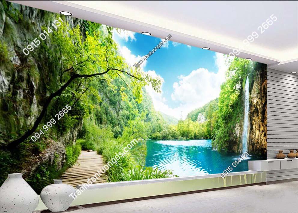 Tranh tường thác nước đẹp ST017