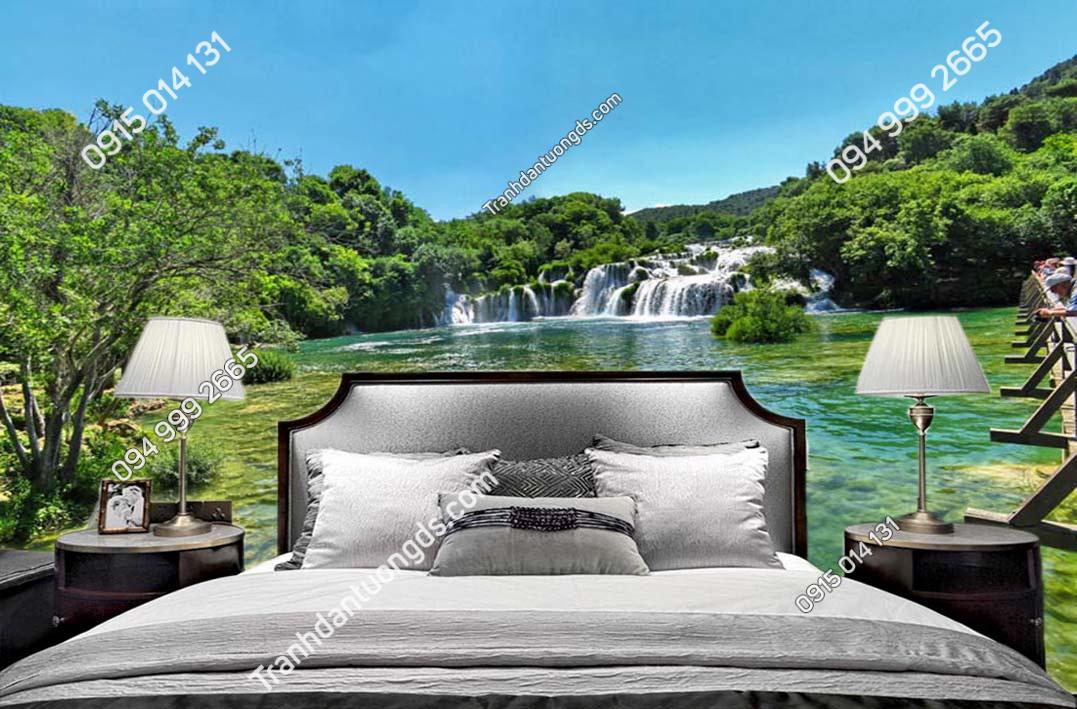 Tranh tường thác nước đẹp dán phòng ngủ ST023