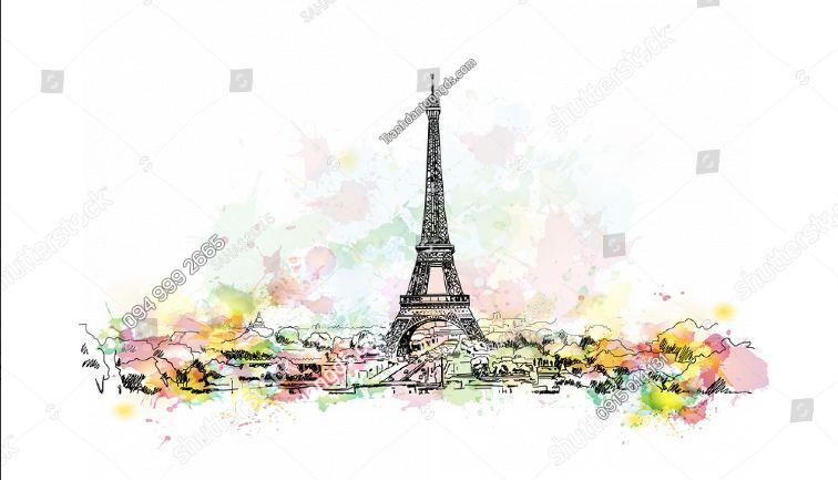 Tranh tường tháp Eiffel 716032294