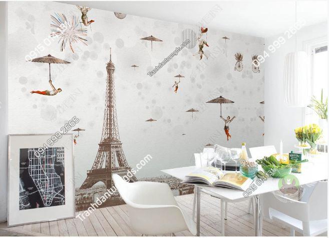 Tranh tường tháp Eiffel dán phòng ăn DS_16160542