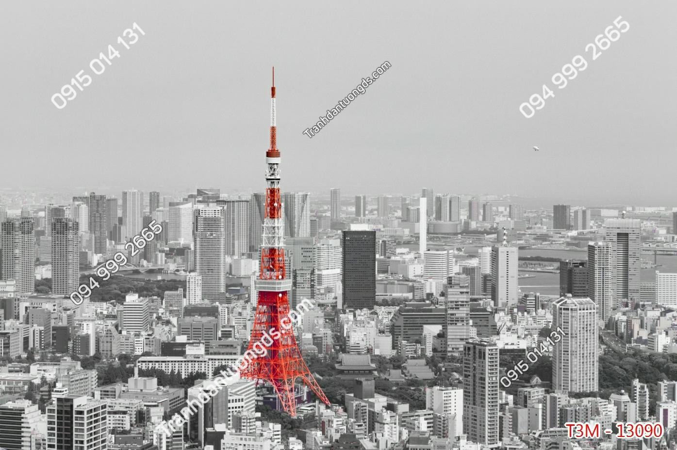 Tranh tường tháp Eiffel đỏ - 13090 demo