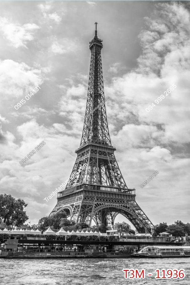 Tranh tường tháp Eiffel khổ dọc trắng đen - 11936 demo