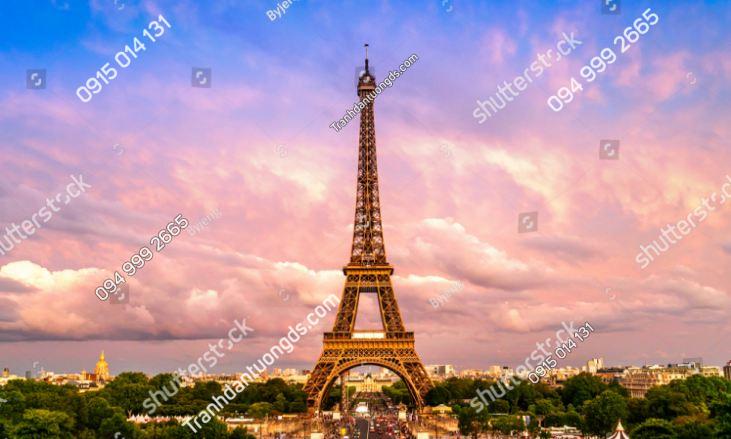 Tranh tường tháp Eiffel lúc hoàng hôn 1571321032
