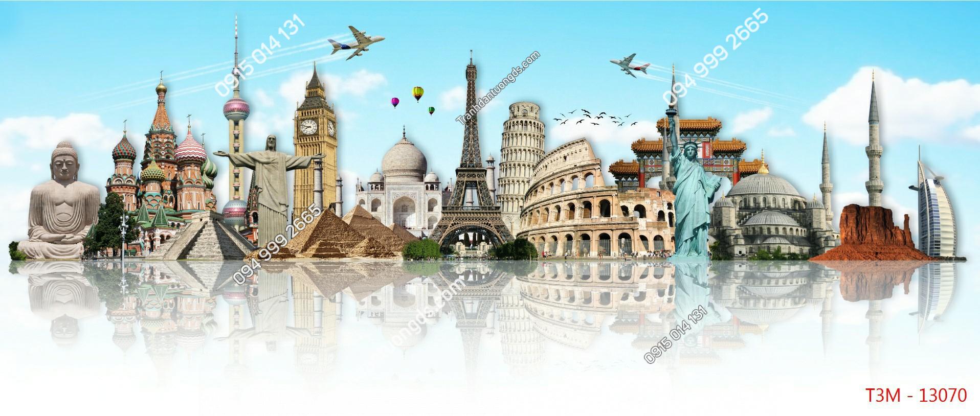 Tranh tường tháp Eiffel và các kỳ quan - 13070 demo