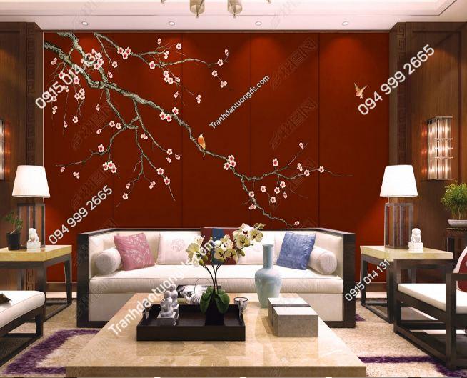 Tranh uyên ương dán tường phòng khách DS_16005639 copy
