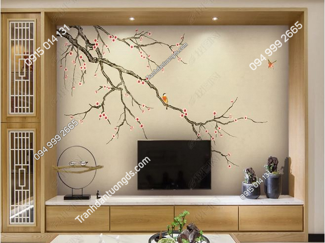 Tranh uyên ương dán tường phòng khách DS_16005639