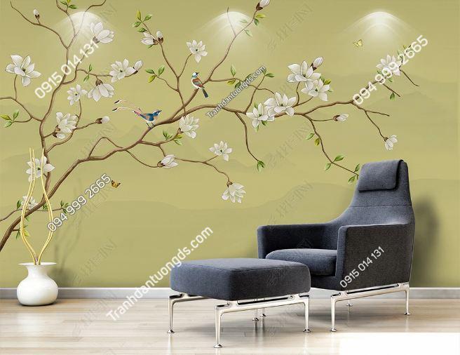 Tranh uyên ương dán tường phòng khách DS_16775426