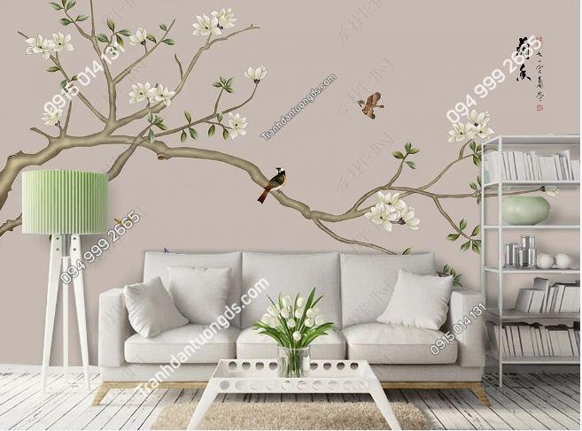 Tranh uyên ương dán tường phòng khách DS_16815990