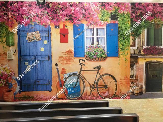 thi công tranh thực tế quán cafe đẹp