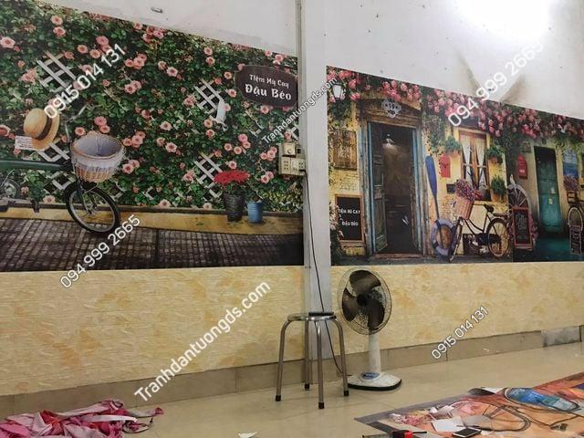 thi công tranh thực tế quán cafe