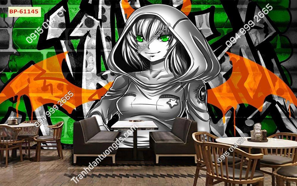 tranh dán tường cô gái quán cafe