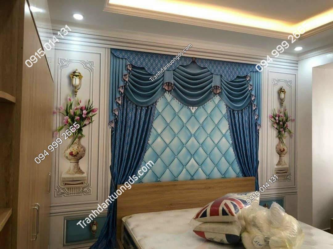 Tranh giả rèm phòng ngủ 3D