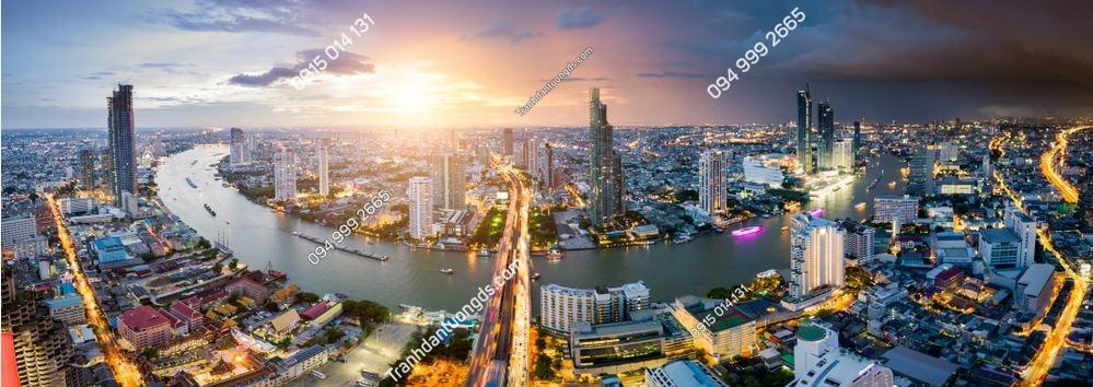 TRanh dán tường view thành phố Bangkok Thái Lan 1104510797