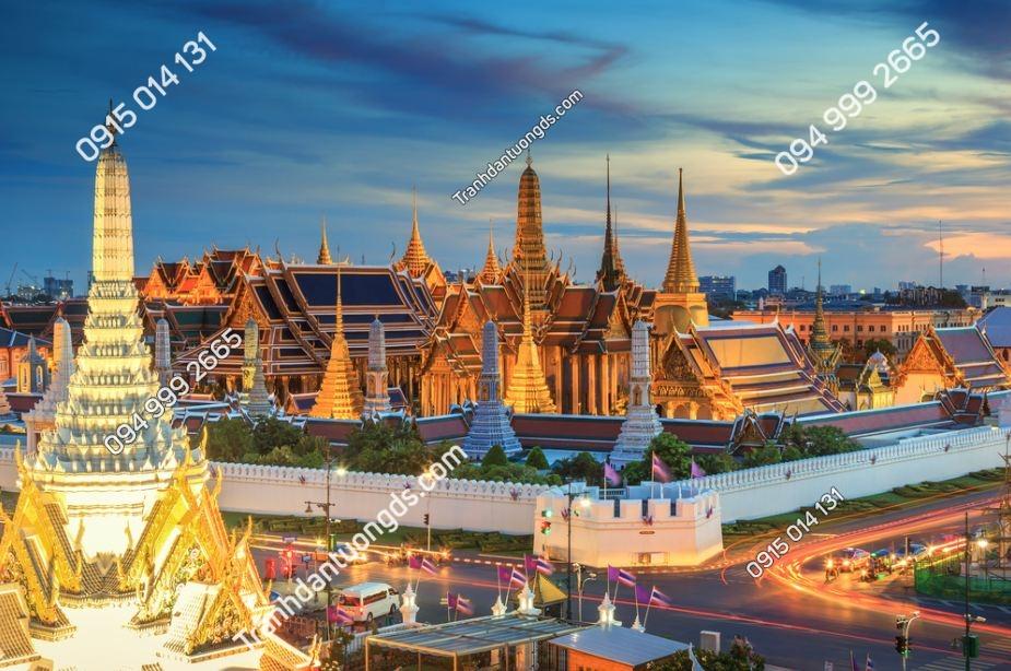 Tranh cảnh đêm tại chùa vàng Bangkok, Thái Lan 418323238