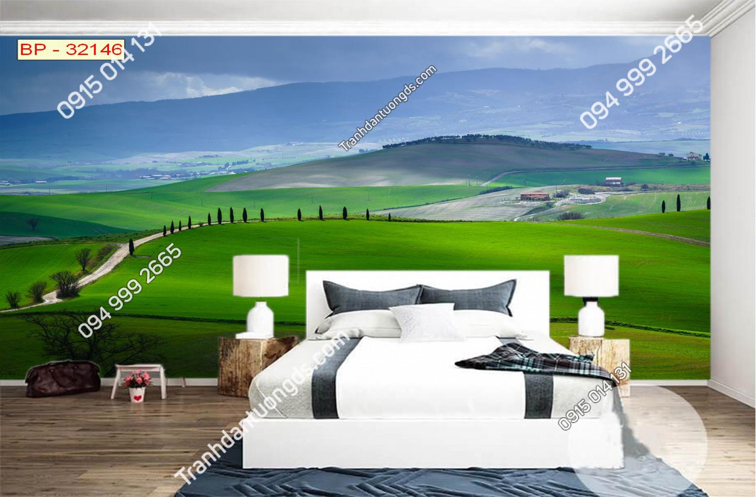 Tranh dán đồi cỏ xanh mướt 32146