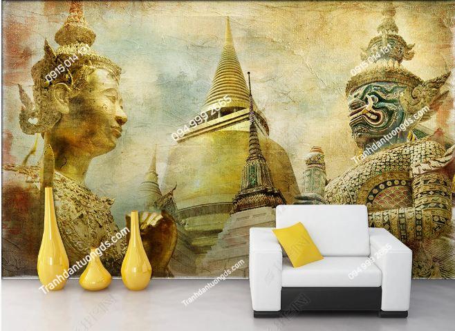 Tranh dán tường chùa phong cách Thái Lan DS_15936856