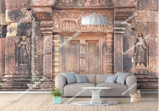 Tranh dán tường chùa phong cách Thái Lan dán phòng khách DS_16378296