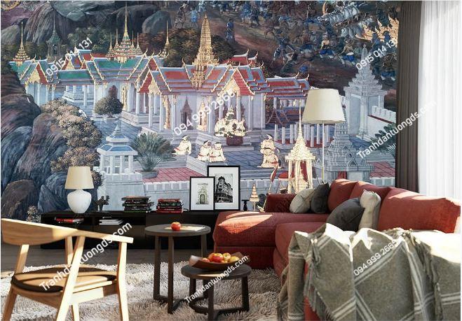 Tranh dán tường chùa phong cách Thái Lan dán phòng khách DS_16482099