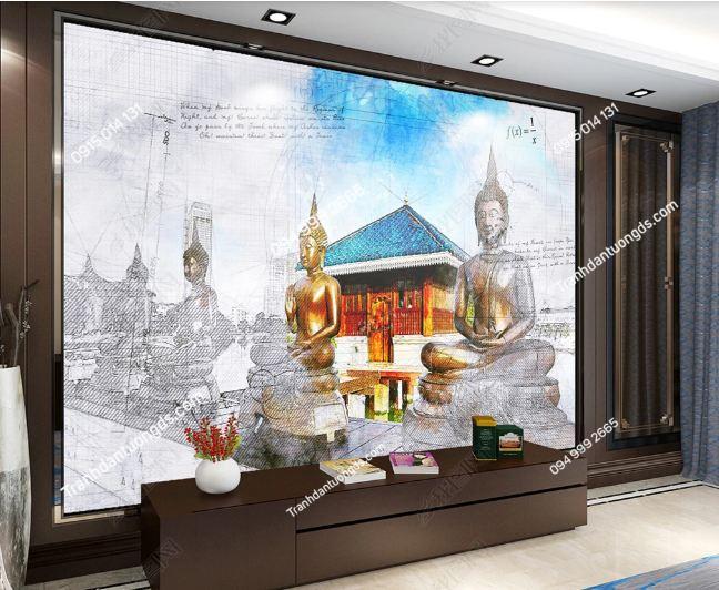 Tranh dán tường chùa phong cách Thái Lan dán phòng khách DS_17831899
