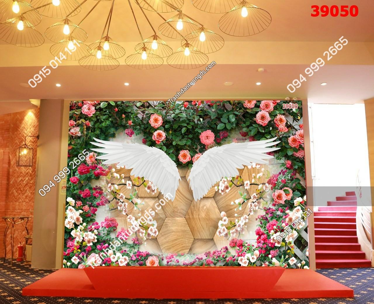 Tranh dán tường đôi cánh thiên thần dán bục sự kiện 39050