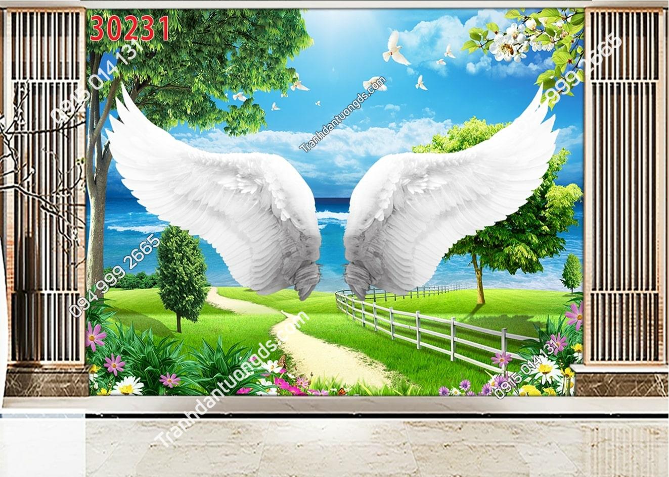 Tranh dán tường đôi cánh thiên thần dán phòng khách 30231