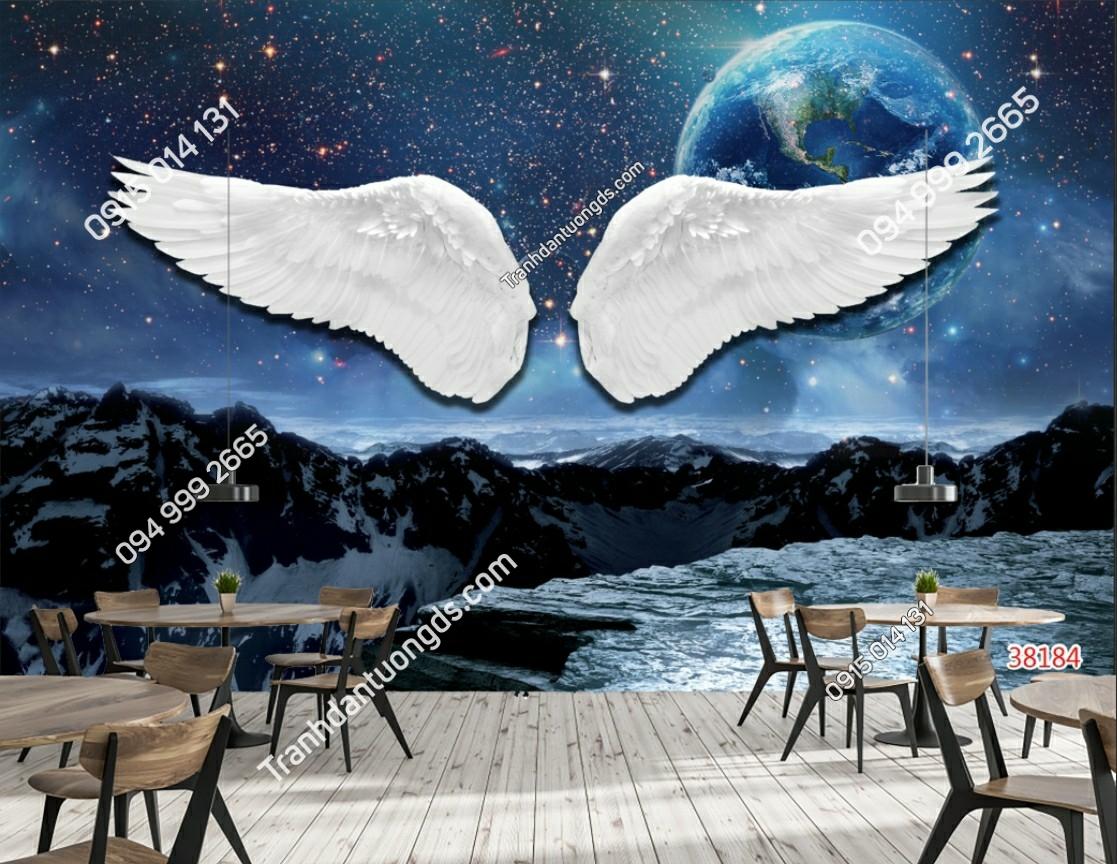 Tranh dán tường đôi cánh thiên thần dán quán cafe 38184 (2)