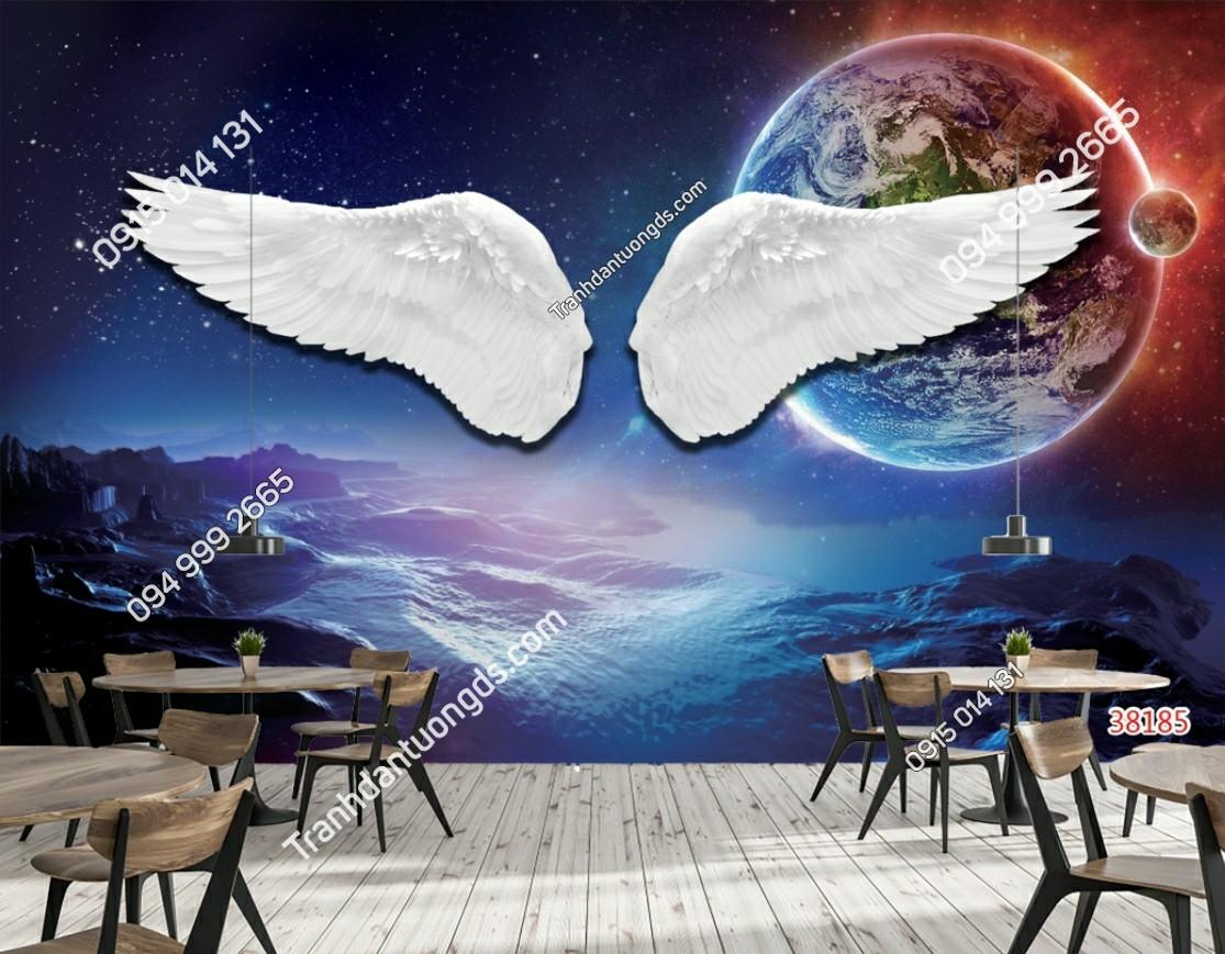 Tranh dán tường đôi cánh thiên thần dán quán cafe 38185 (2)