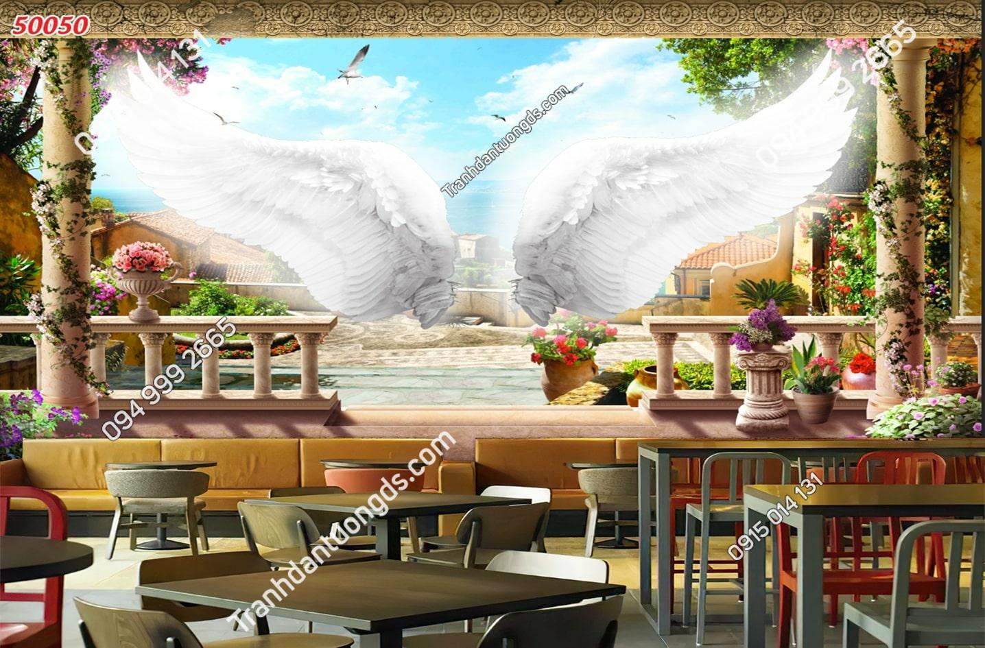 Tranh dán tường đôi cánh thiên thần dán quán cafe 50050