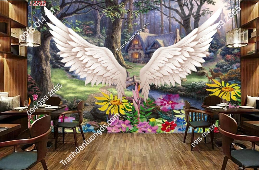 Tranh dán tường đôi cánh thiên thần dán quán cafe 52732