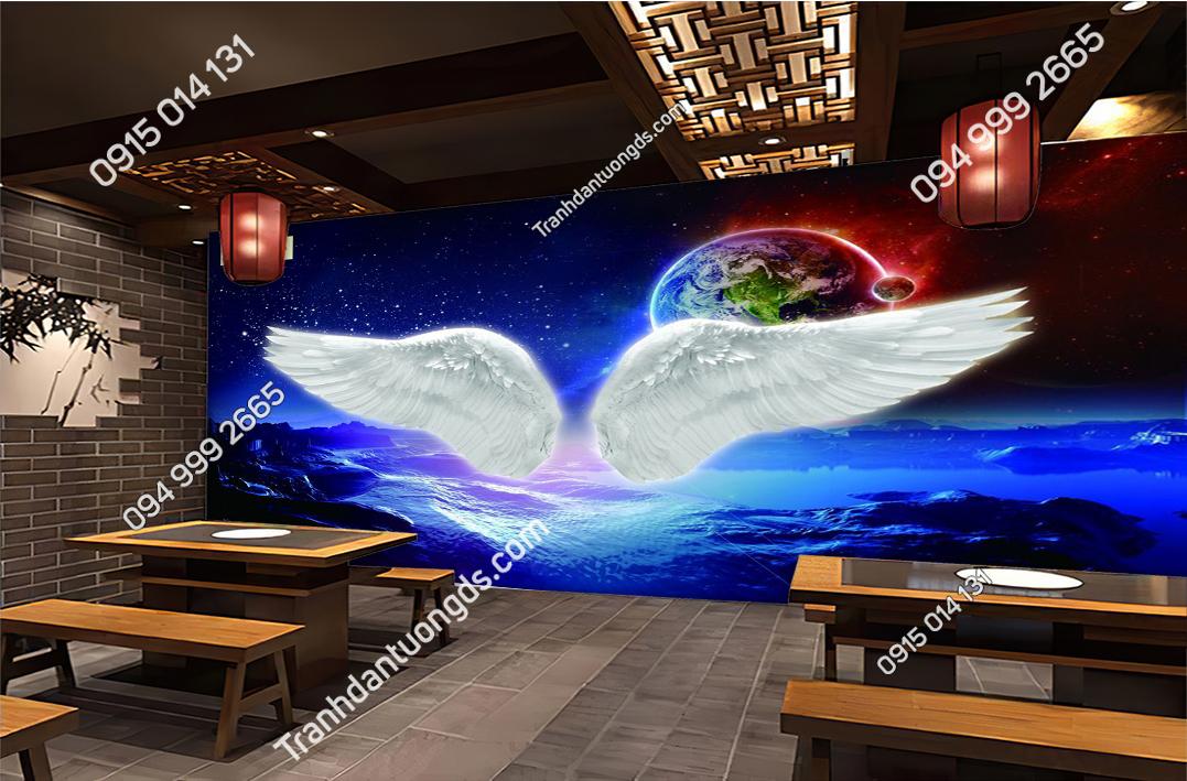 Tranh dán tường đôi cánh thiên thần dán quán cafe 61106