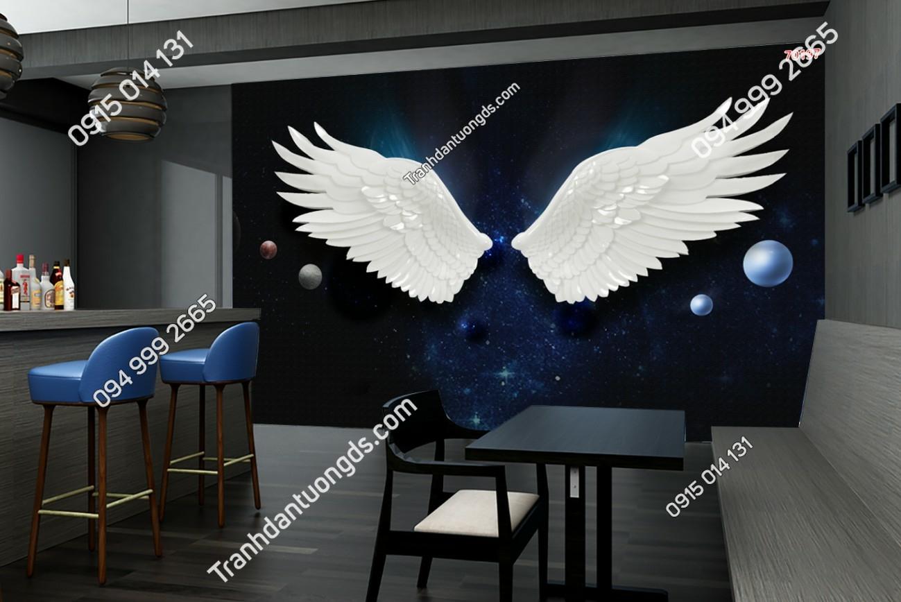 Tranh dán tường đôi cánh thiên thần dán quán cafe 70197 (2)