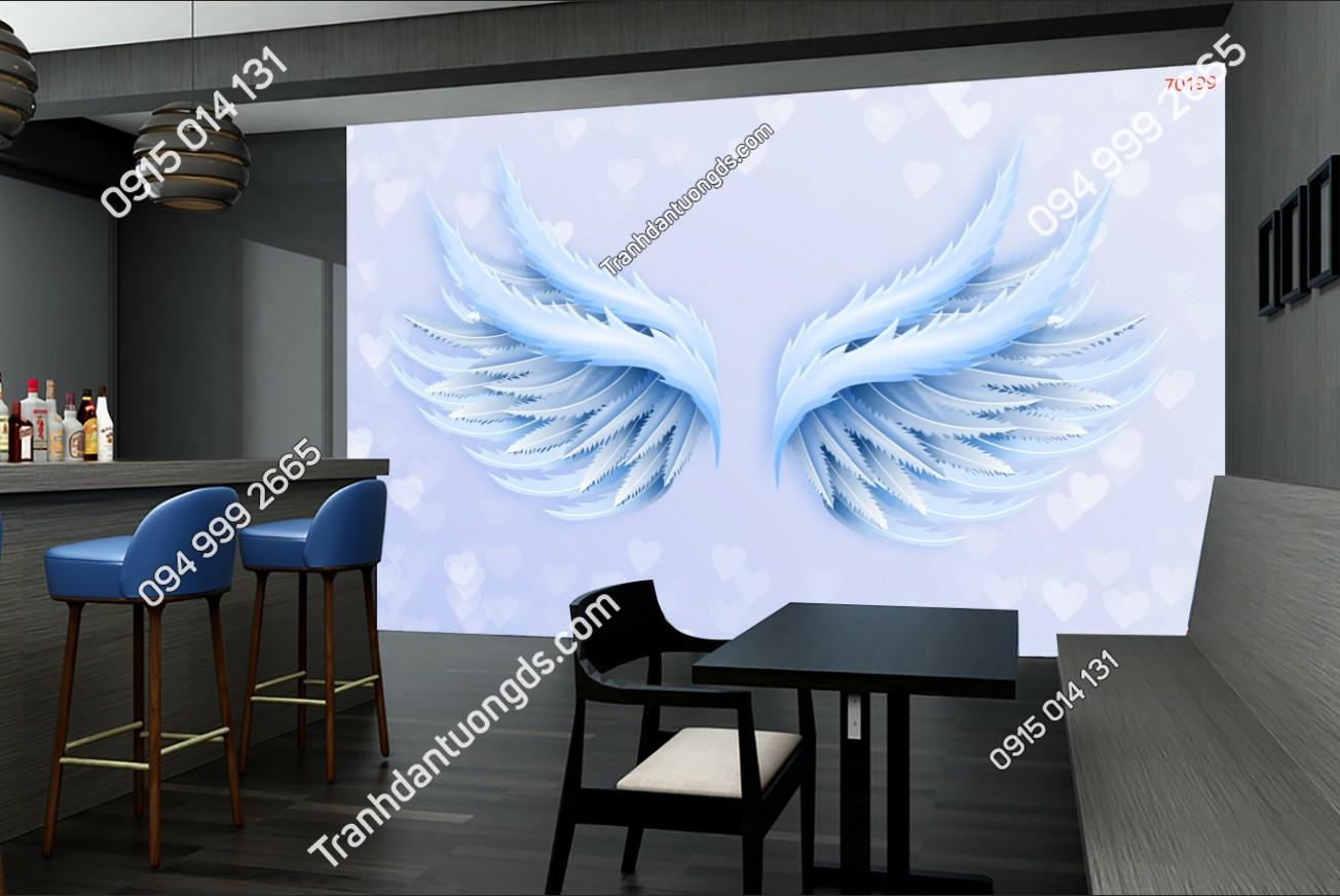 Tranh dán tường đôi cánh thiên thần dán quán cafe 70199 (2)