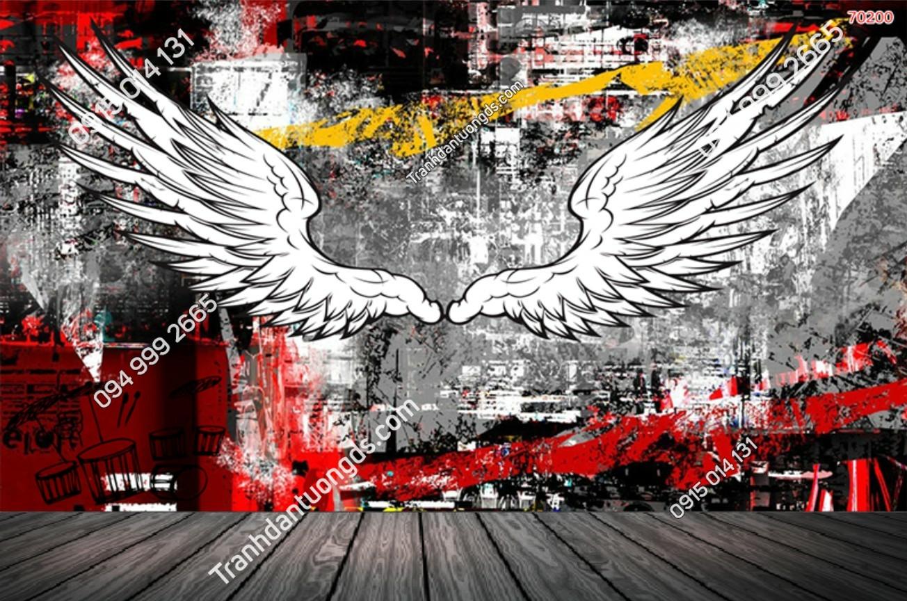 Tranh dán tường đôi cánh thiên thần dán quán cafe 70200 (2)