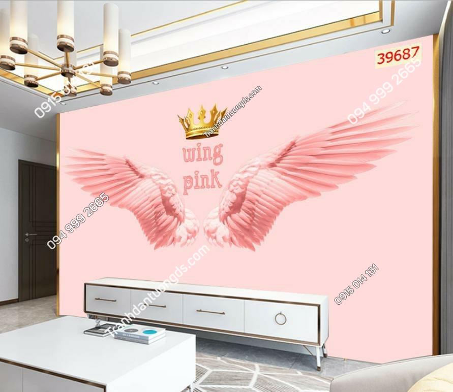 Tranh dán tường đôi cánh thiên thần hồng dán phòng khách 39687 DEMO
