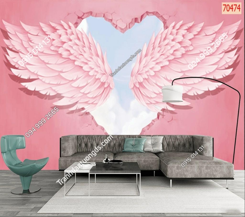 Tranh dán tường đôi cánh thiên thần hồng dán phòng khách 70474 demo