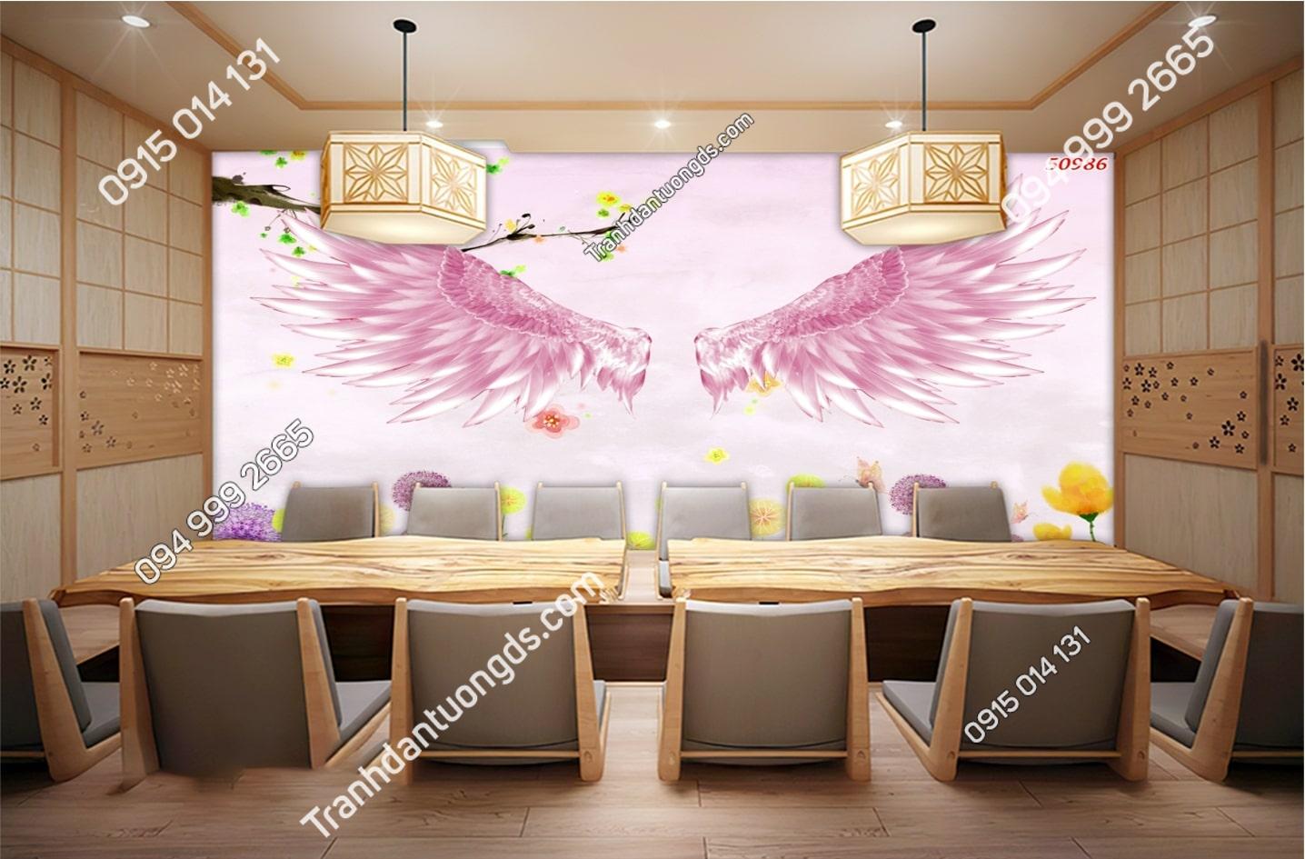Tranh dán tường đôi cánh thiên thần hồng dán quán ăn 50986
