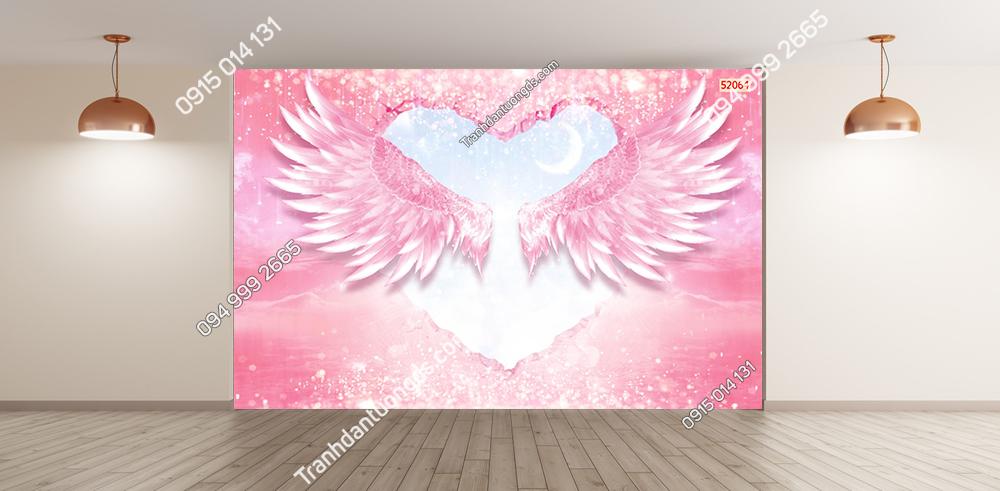 Tranh dán tường đôi cánh thiên thần màu hồng 52064
