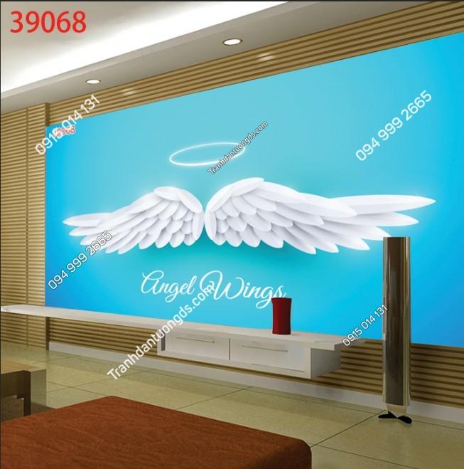 Tranh dán tường đôi cánh thiên thần trắng 39068
