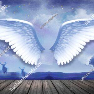 Tranh dán tường đôi cánh thiên thần trắng 70198