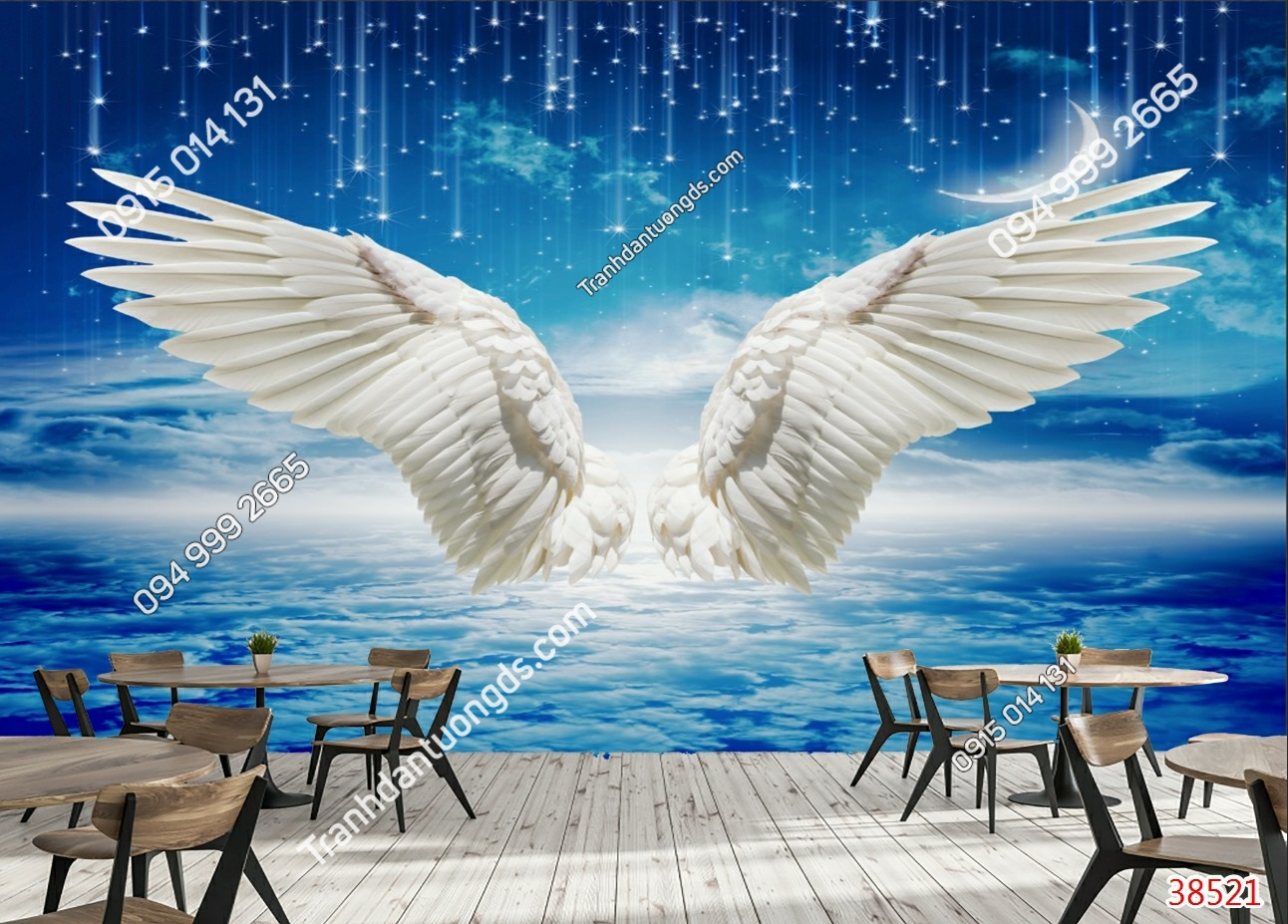 Tranh dán tường đôi cánh thiên thần trắng dán quán cafe 38521