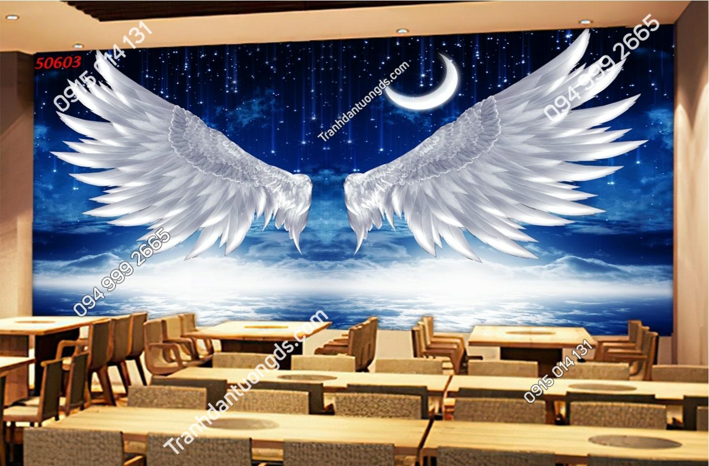Tranh dán tường đôi cánh thiên thần trăng dán quán cafe 50603