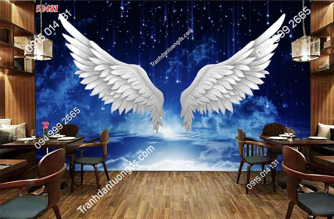 Tranh dán tường đôi cánh thiên thần trên trời sao 52431
