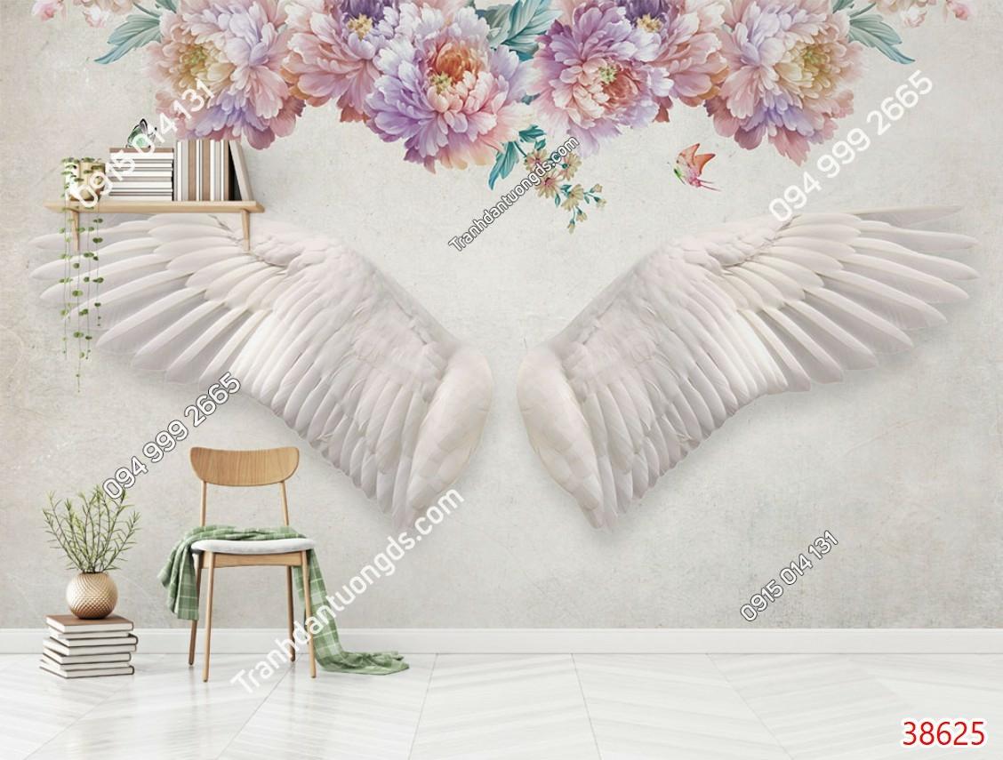 Tranh dán tường đôi cánh thiên thần và hoa 38625
