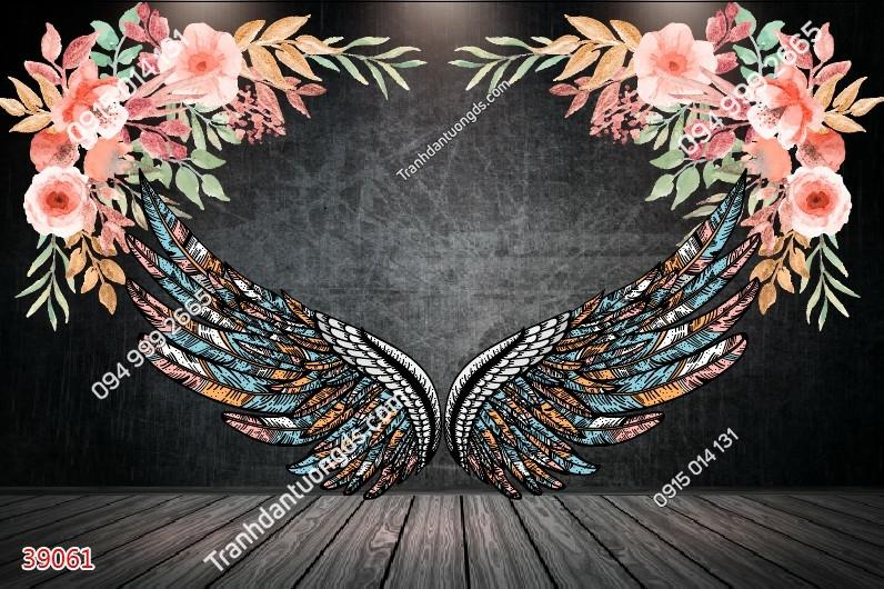 Tranh dán tường đôi cánh thiên thần và hoa 39061