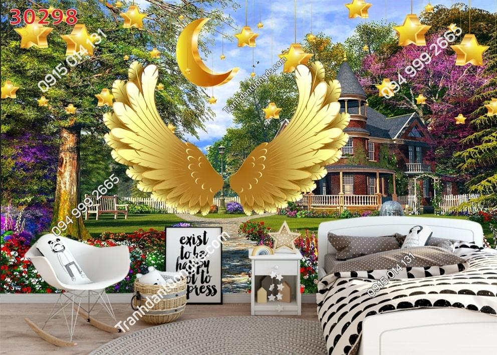 Tranh dán tường đôi cánh thiên thần vàng dán phòng ngủ 30298