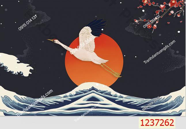 Tranh dán tường hạc phong cách Nhật Bản 1237262