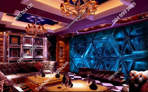 Tranh dán tường karaoke giả kính xanh 3D DS_14619429