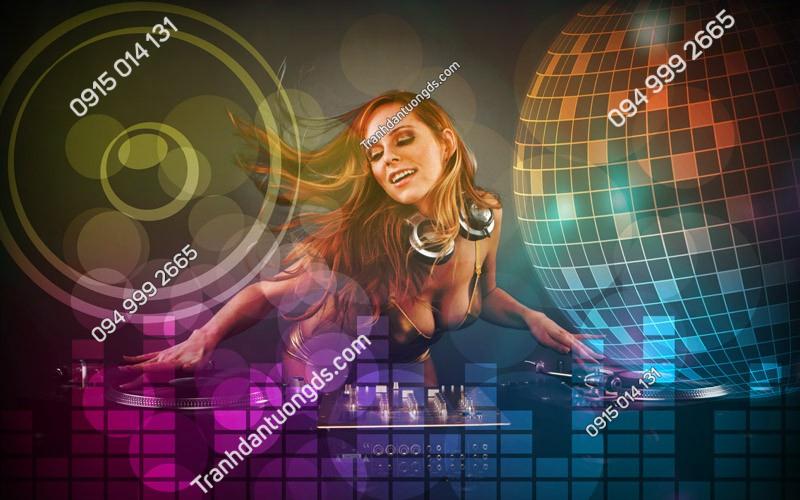Tranh dán tường karaoke sexy girl - (3034)