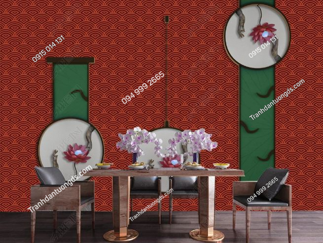 Tranh dán tường kiểu NHật tông đỏ DS_19128082